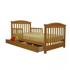 Dream On Me Mission Style Toddler Bed with Storage Drawer in Natural - 651-N