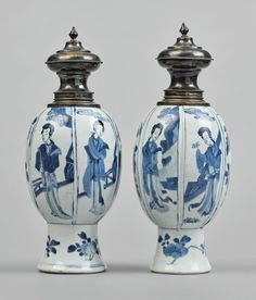 A pair of silver-mounted blue and white vases, Qing dynasty, Kangxi period Blue And White Vase, White Vases, Blue China, Qing Dynasty, Chinese Painting, Chinoiserie, Asian Art, White Ceramics, Pairs
