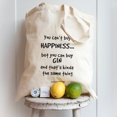 You Can't Buy Happiness Gin Themed Tote Bag by TASTE cocktails, the perfect gift for Explore more unique gifts in our curated marketplace. Gin Gifts, Gin Lovers, Mothers Day Presents, Gin And Tonic, Cotton Tote Bags, Slogan, Unique Gifts, Canning, Happiness