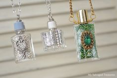 What do you do with an empty perfume bottles? Check out these wonderful ideas for decoration in your home. Make perfume bottles useful again. Bottle Jewelry, Bottle Charms, Bottle Necklace, Jewelry Crafts, Jewelry Art, Vintage Jewelry, Jewelry Design, Jewlery, Empty Perfume Bottles