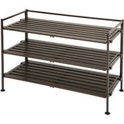 Organize your closet with this shoe rack.  Store under your short hang and use space wisely.  Seville Classics 3-Tier Utility Shoe Rack, Mocha