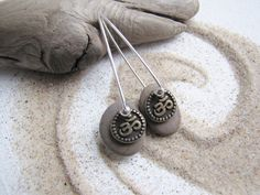 Yoga Jewelry - Om Beach Stone Dangle Earrings  Lake by LupinePrairieGlass on Etsy