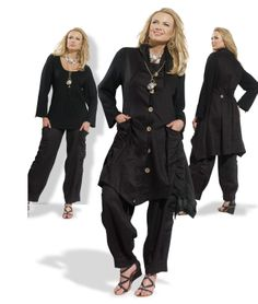 High Quality Black Linen Set from Donna Vinci 14199 $159.00