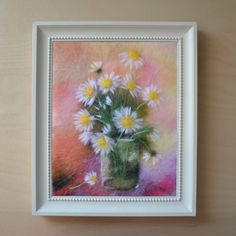 "Wool Painting ""Chamomile"". Flowers, Chamomile, Flowers in Vase, White Flowers, Wool Art, Wool Painting, Wool Picture, Home Decor, Wall Art, Wall Decor"