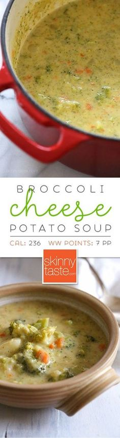 Broccoli Cheese and Potato Soup | Skinnytaste; use evaporated milk instead of skim and cauliflower instead of potato