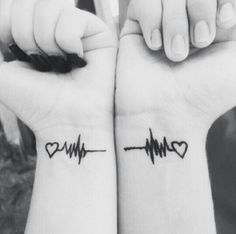 Heartbeat couple tattoos: