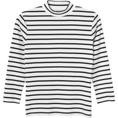 Monki Molly top (€19) ❤ liked on Polyvore featuring tops, sleek stripes, 3/4 length sleeve tops, monki, striped top, ribbed top and three quarter sleeve tops
