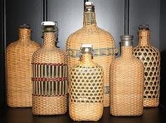 wicker covered bottles