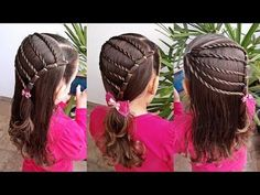 Easy Hair Style for Long Hair - Hairstyles tutorials for girls - Beautiful hairstyles for school - Beautiful Kids Hairstyles - Hai. Teen Girl Hairstyles, Easy Hairstyles For Kids, Step By Step Hairstyles, Quick Hairstyles, Unique Hairstyles, Hairstyles For School, Everyday Hairstyles, Straight Hairstyles, Beautiful Hairstyles