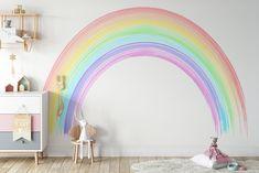 Rainbow Wallpaper, Wall Wallpaper, Wallpaper Designs, Art Mural Photo, Rainbow Bedroom, Rainbow Room Kids, Rainbow Nursery, Vintage Flowers Wallpaper, Large Wall Murals