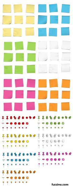 Free Vector Post it Notes + Push Pins. Need it for my Promethean Board. Site has other coolness of images to download. NEED to do that.