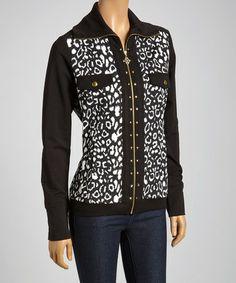Look what I found on #zulily! Black & White Leopard Stud Zip-Up Jacket #zulilyfinds