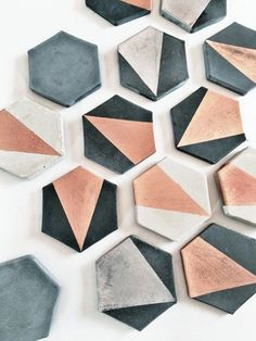 Charcoal Hexagon Concrete Coaster with Gold Set of by MadeByRheal