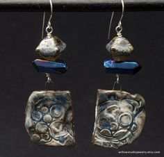 slab dangles, art artisan beads, boho assemblage, blue and grey, lampwork glass, coated crystals, sterling silver wire, clay and glass