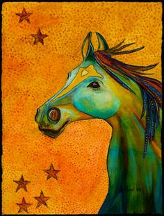 Original painting of a whimsical horse by OriginalArtbyCassie, $450.00