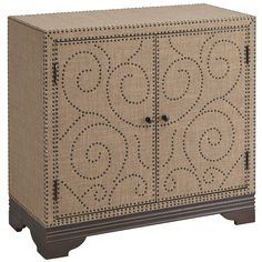 Clad in luxe-looking linen fabric atop a solid wood base, our cocoa-colored cabinet features ornate nailhead trim and reveals an adjustable interior shelf. Stylish storage with classic good looks. Entryway Cabinet, Cabinet Decor, Cabinet Colors, Mirror Cabinets, Wooden Cabinets, Home Office Furniture, Living Room Furniture, Metallic Dresser, Free Standing Cabinets