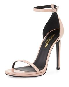 """Saint Laurent patent leather sandal. 4.3"""" covered stiletto heel. Thin toe strap. Adjustable ankle-wrap strap. d'Orsay silhouette. Smooth outsole. Made in Italy."""