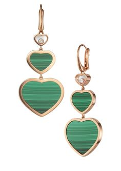 A profusion of Happy Hearts grace this earrings in rose gold making an elegant, fun and creative addition to the Happy Diamonds collection. Hearts cluster with joyful abandon, natural stone Malachite, variously sized, all but one. High Jewelry, Heart Jewelry, Heart Earrings, Luxury Jewelry, Diamond Earrings, Drop Earrings, Chopard Earrings, Happy Heart, Bridal Jewelry