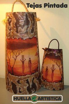 de estilo étnico África - Tejas pintada. Huella Artística.