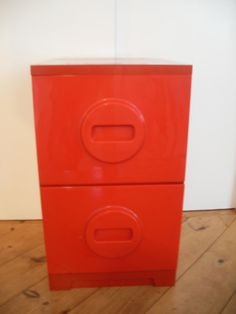 Vintage Pop Art Style Red File Cabinet Retro