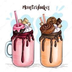 Food Drawing Easy, Cute Food Drawings, Cute Little Drawings, Easy Drawings, Candy Drawing, Milk Drawing, Cute Cupcake Drawing, Cafeteria Menu, Milk Shakes