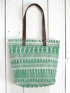 screen printed tote bag - Green Market Weave