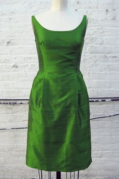 Apple Green Scooped Neckline Silk Shantung by kimeradesign on Etsy, $258.00