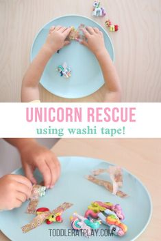 Easy, low-prep activity for toddlers and preschoolers, this Washi Tape Unicorn Rescue Activity is a winner! This activity was a total hit among my Toddler Fine Motor Activities, Creative Activities For Kids, Indoor Activities For Kids, Creative Play, Toddler Preschool, Crafts For Kids, Games To Play With Kids, Games For Toddlers, Toddler Games