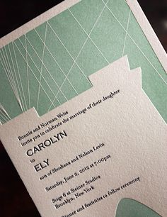 Invitation is the Brooklyn bridge. Love how they took part of the city/location and incorporated it. Clean but with some complexity. Modern and fun!
