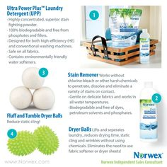 Norwex Laundry Options Ditch the toxic fabric softeners and try the Norwex Laundry Ball options. Norwex UPP highly concentrated, superior stainfighting powder is biodegradable and free from phosphates and fillers. Designed for both high-efficiency (H Norwex Biz, Norwex Cleaning, Green Cleaning, Cleaning Hacks, Norwex Products, Cleaning Products, Norwex Laundry Detergent, Norwex Cloths, Norwex Consultant