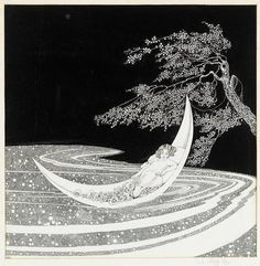 Works on Paper - Ida Rentoul Sherbourne Outhwaite - Page 8 - Australian Art Auction Records Art And Illustration, Australian Art, Moon Art, Art Auction, Stars And Moon, Faeries, Dark Art, Vintage Art, Vintage Moon