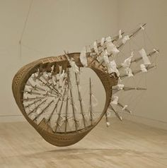 MÖBIUS SHIP / Tim Hawkinson / California-based artist Tim Hawkinson is known for taking everyday materials and altering them in imaginative ways, creating works that address broad issues about the intersection of human consciousness, nature and technology.