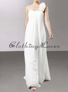 Buy Soft Chiffon A-line with Flower Detail on Strap Style Wedding Dress Gown