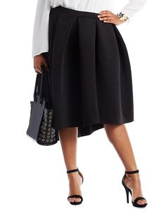 bb951a02654 Plus Size Black Pleated Scuba Knit Skirt by Charlotte Russe