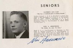 """Neil Armstrong, 1947 yearbook page from Blume High School, Wapakoneta, Ohio:  """"He thinks, he acts, 'tis done."""""""
