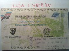 Ticket for European Champions League FInal: Red Star Belgrade - Olimpique Marseille in Bari, Italy on May 29, 1991.    Srdjan i Oliver busom od Beograda do Barija!