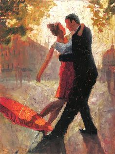 This is an original oil painting by artist Christopher Clark. Love and romance, brought together in the glistening afternoon sun by a simple red umbrella. Oh, and dancing. Lots and lots of dancing. Own this original painting today and experience this simple romantic moment over and over again.