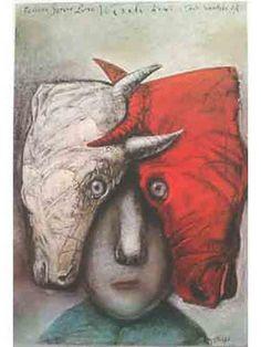 Frederico Garcia Lorca - Spaanse progressieve dichter - Kunstposter Originele druk in Polen, offset, jaar 1990  Stasys Eidrigevicius.