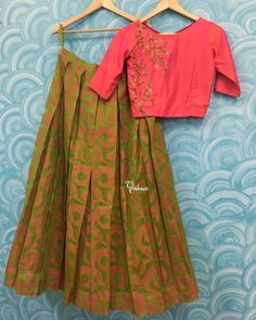 YBA057: Pink with Green Crop top skirt ! Beautiful green color lehenga and pink color crop top with hand embroidery thread work. They can customize the size and colour as per your requirement.To order please reach  on 7550227897 / 044 42037313.<br> Yoshnas  No.2  Co-operative colony  Chamiers Road Chennai. Landmark : Next to Hotel Crown Plaza (Park sheraton)Work Unit:Yoshnas No 10b  Kuppusamy street Nanganallur Chennai.  05 July 2017