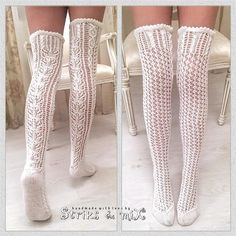 White Thigh High Socks, Knitting Socks, Hand Knitting, Hold Up Stockings, Lace Socks, Knitted Tights, Crochet Leg Warmers, Sexy Socks, Crochet Shirt
