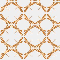 Dragonfly Dance - Tangerine fabric by kristopherk on Spoonflower - custom fabric