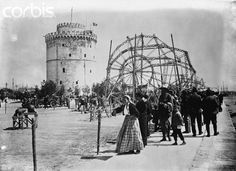 King Ferdinand's zeppelin being rebuilt in front of the White Tower of Thessaloniki. The White Tower is used as a museum to house Greek artefacts, Get premium, high resolution news photos at Getty Images Macedonia Greece, Thessaloniki, Ferdinand, Zeppelin, Still Image, Athens, Greek, Louvre, Tower