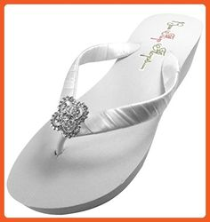 d76e4530059 Bridal Flip Flops Wedding Ivory Wedge White Platform Bride Square Filigree  Heel Satin Rhinestone Flip Flops