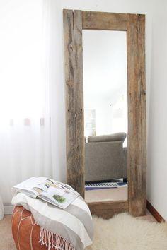 DIY Rustic Wood Frame Mirror   http://www.amandakatherine.com/diy-rustic-wood-frame-mirror/