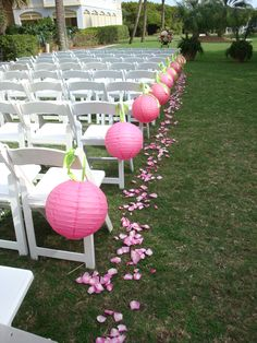 Aisle Markers in Hot Pink JW Weddings and Events Charleston, SC