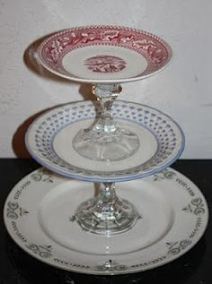 Thrift shop cake / cookie plate Great DYI with plates and crystal candlesticks! Tiered Server, Vintage Cake Stands, Dessert Aux Fruits, Vintage Plates, Antique Plates, Repurposed Items, Plate Crafts, Diy Cake, Cake Plates
