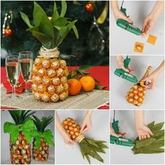 Creative-gift-wrap-ideas-unique-pineapple-chocolates-wine-bottle 35 Creative and Simple Gift Wrapping Ideas Creative Gift Wrapping, Creative Gifts, Wrapping Ideas, Creative Ideas, Homemade Gifts, Diy Gifts, Chocolates Ferrero Rocher, Pineapple Gifts, Champagne