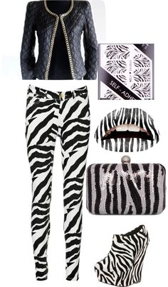 """zebra every thing"" by joismith91 ❤ liked on Polyvore"