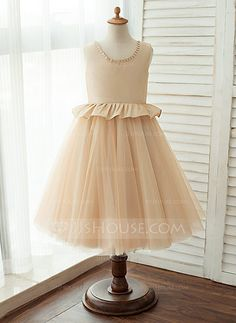 [AU$79.00] A-Line/Princess Knee-length Flower Girl Dress - Tulle Sleeveless Scoop Neck