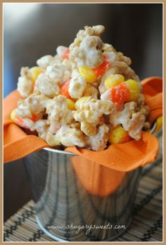 Caramel Corn that tastes like a Payday candy bar! With peanuts and candy corn! great for Halloween!